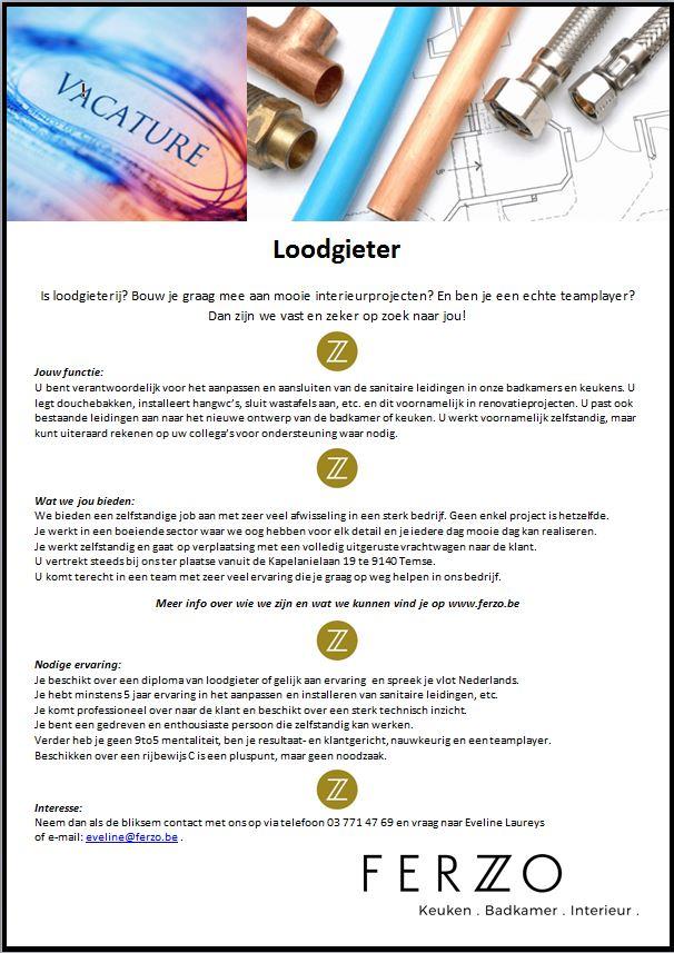 Vacature Loodgieter - Ferzo