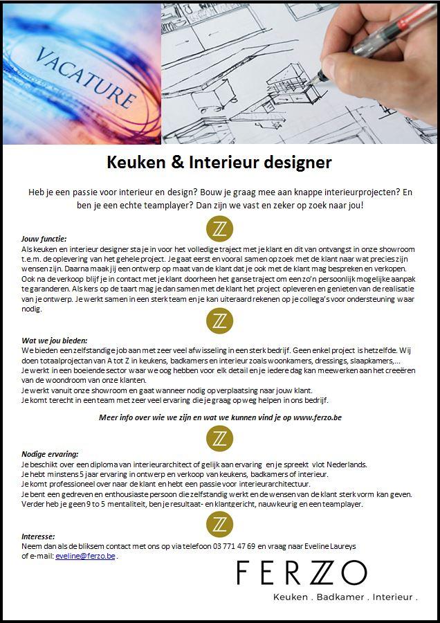 Ferzo keuken badkamer interieur for Interieur designer vacature